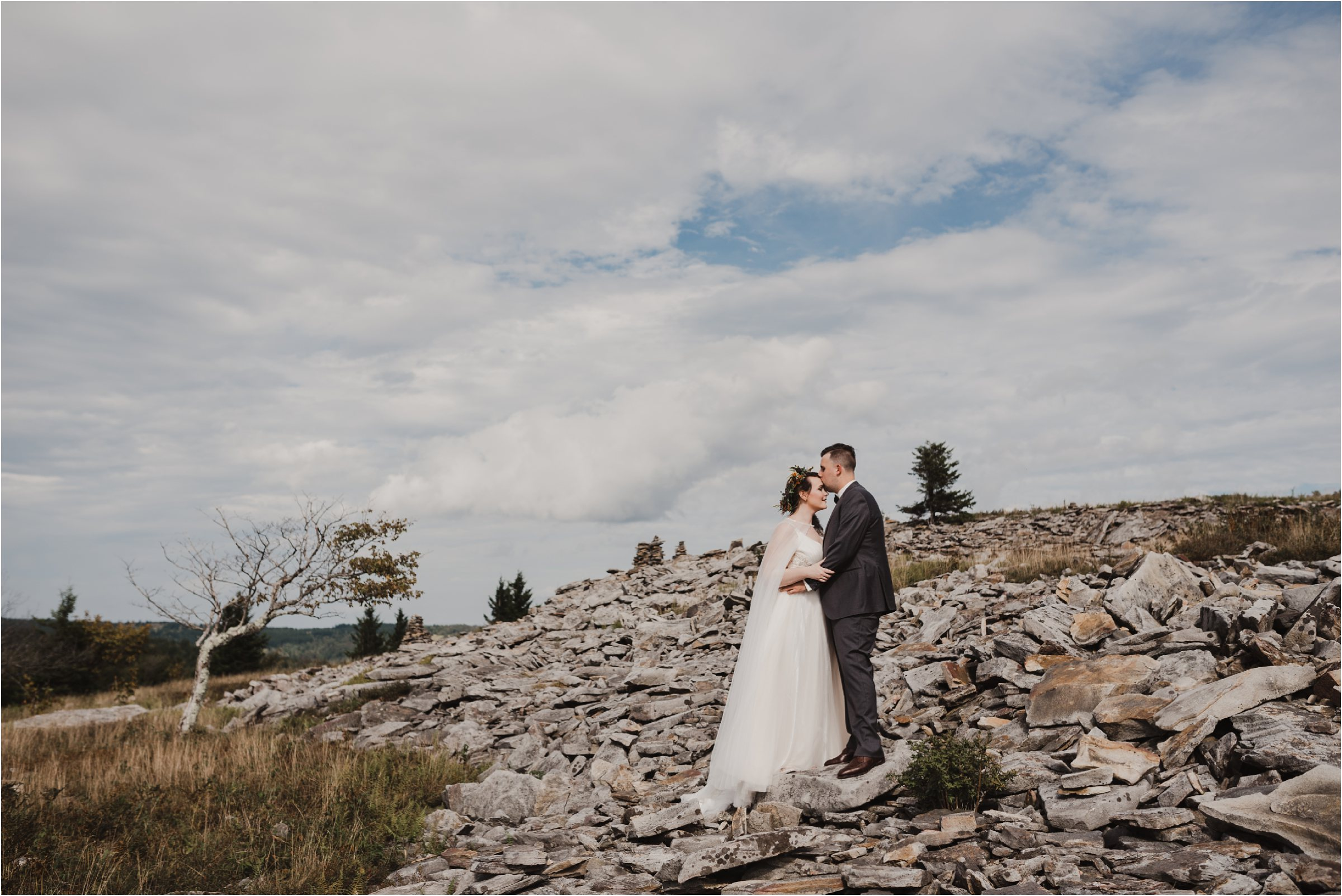 Bride and groom at Dolly Sods during wedding