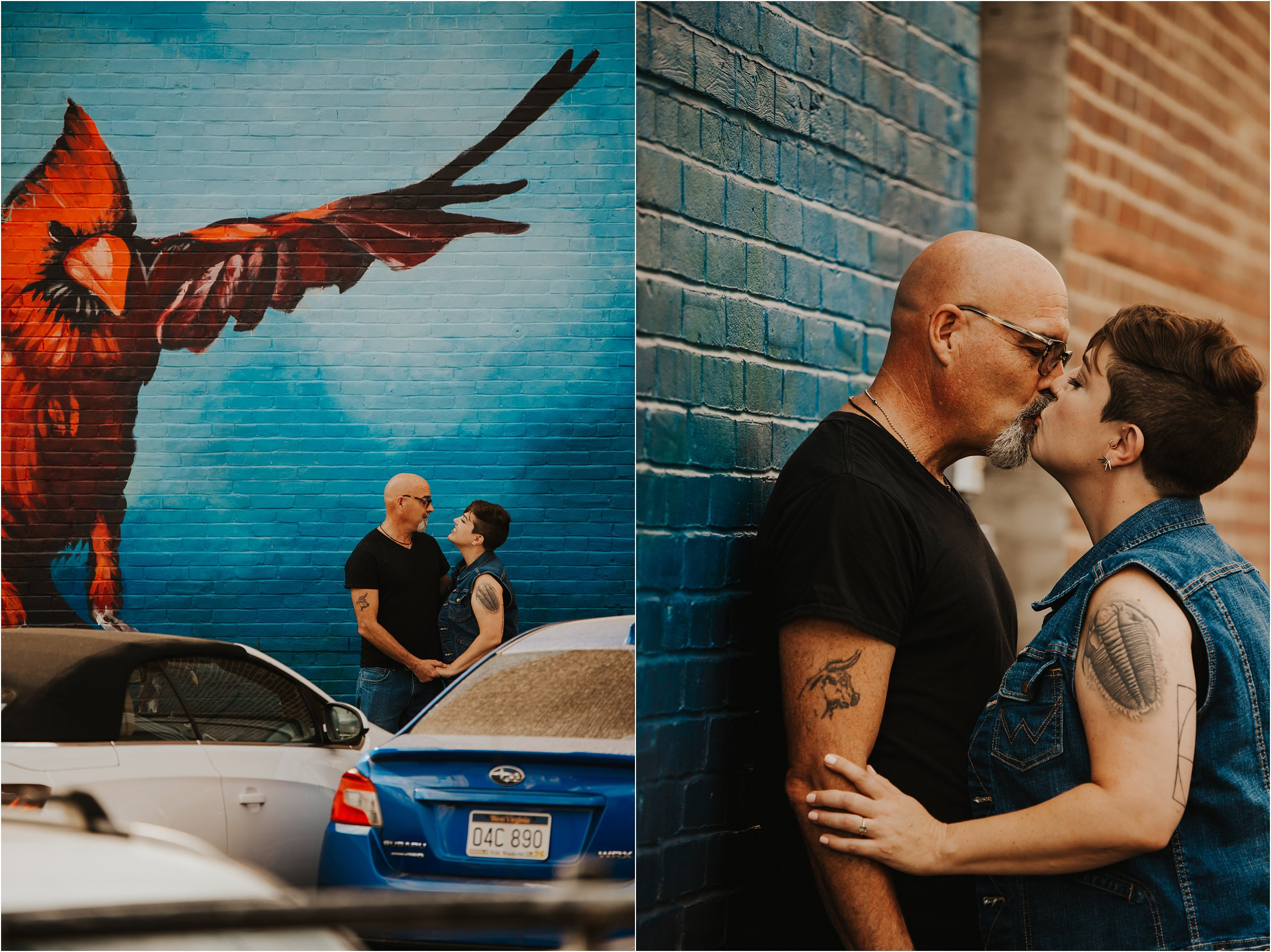 morgantown wv engagement couple with mural behind them