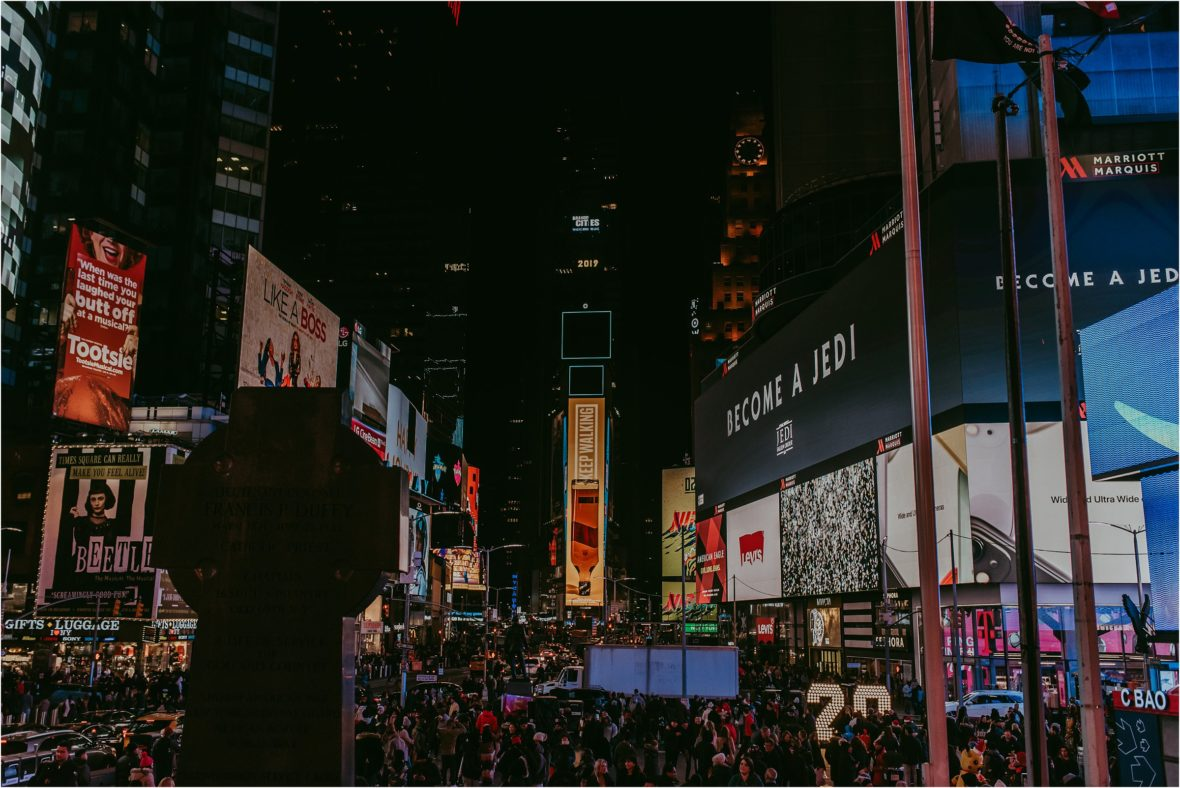 Times square at night with lights